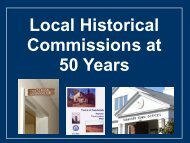 Local Historical Commissions at 50 Years - Cape Cod Commission