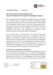 zur Pressemitteilung (pdf) - Regionale Energieagentur Augsburg