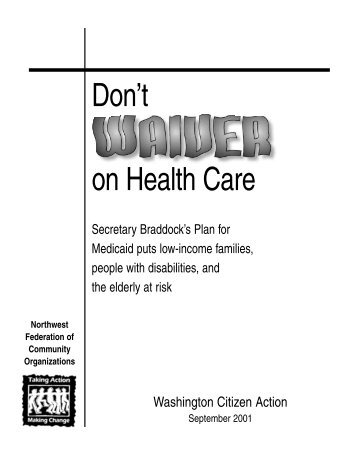 Don't Waiver on Health Care: Secretary Braddock's plan for ...