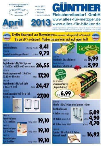 April 2013 - Günther Fleischereibedarf GmbH.