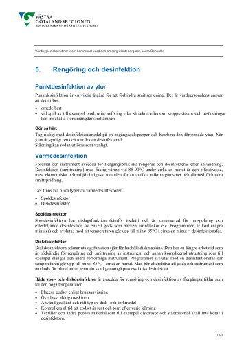 5. Rengöring och desinfektion