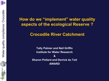 "How do we ""implement"" water quality aspects of the ... - SANParks"