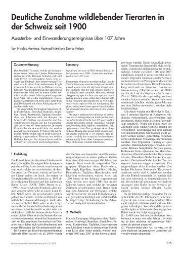Deutliche Zunahme wildlebender Tierarten in der Schweiz seit 1900