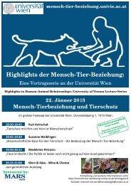 22. Jänner 2013 - Mensch-Tier-Beziehung - Universität Wien