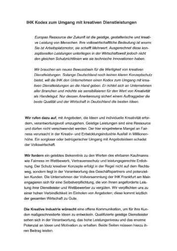 IHK Kodex zum Umgang mit kreativen ... - Wellness Institut