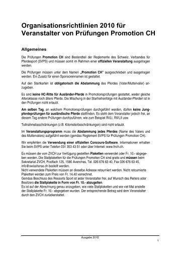 Organisationsrichtlinien - Zuchtverband CH Sportpferde