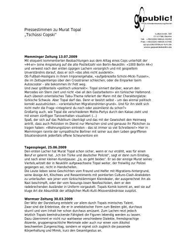 "Pressestimmen zu Murat Topal ""Tschüssi Copski"""