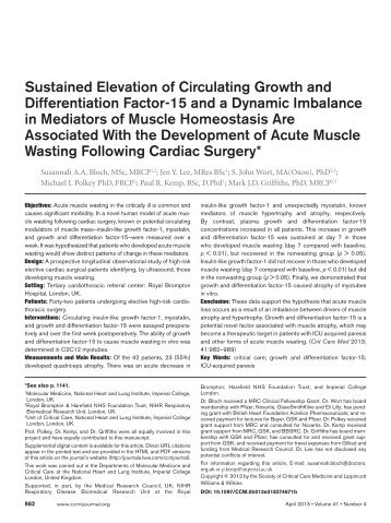 Sustained Elevation of Circulating Growth and Differentiation Factor ...