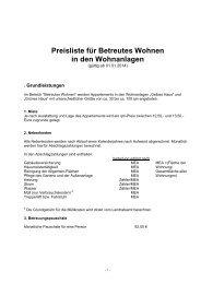 Kostenliste Betreutes Wohnen in den ... - Johanneshaus
