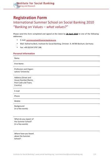 Registration Form - Institute for Social Banking