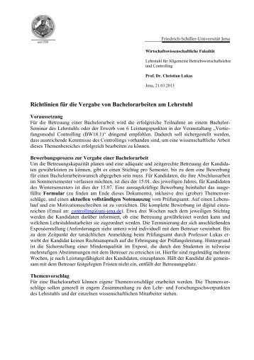 Richtlinien für die Vergabe von Bachelorarbeiten am Lehrstuhl