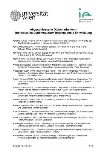 Abgeschlossene Diplomarbeiten - Institut für Internationale ...