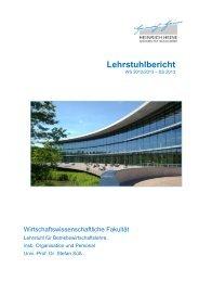 Lehrstuhlbericht - Lehrstuhl für BWL, insb. Organisation und Personal
