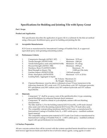Specifications for Bedding and Jointing Tile with Epoxy Grout