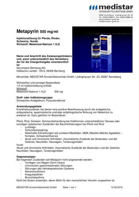 Metapyrin 500 mg/ml - MEDISTAR Arzneimittelvertrieb GmbH