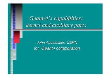kernel and auxiliary parts - Geant4 - Cern