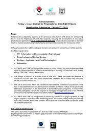 Turkey – Israel 5th Call for Proposals for Joint R&D Projects ...
