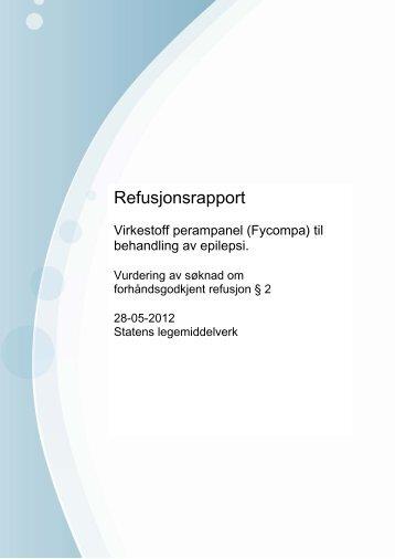 Refusjonsrapport - Statens legemiddelverk