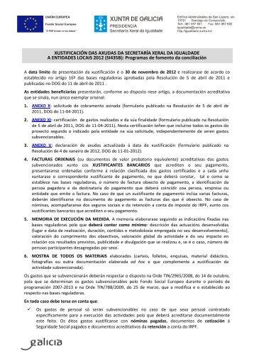 XUSTIFICACIÓN DAS AXUDAS DA ... - Xunta de Galicia