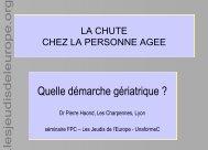 Haond P. La chute chez la personne âgée - Les Jeudis de l'Europe