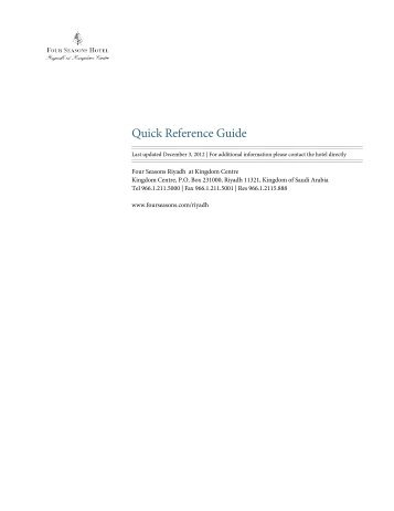 Quick Reference Guide - Four Seasons Hotels and Resort