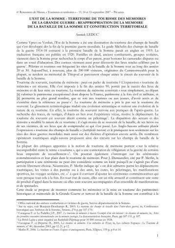 L'EST DE LA SOMME : TERRITOIRE DE TOURISME DES MEMOIRES