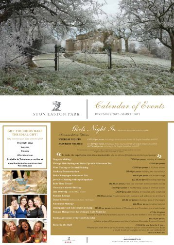 Calendar of Events - Ston Easton Park