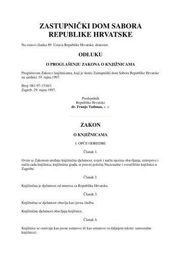 Zakon o knjižnicama - NSK - Nacionalna i sveučilišna knjižnica u ...