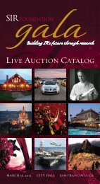 LIVE AUCTION CATALOG - SIR Foundation