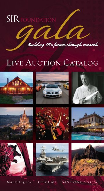 LIVE AUCTION CATALOG - SIR Foundation