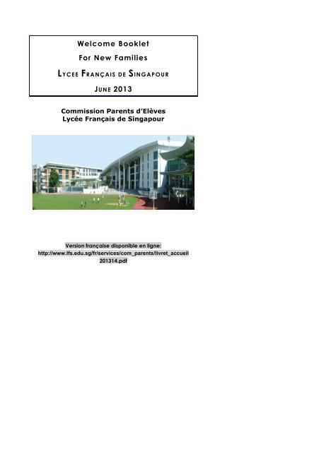 Welcome Booklet For New Families - Lycée français de Singapour