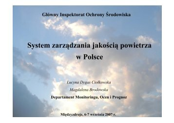System zarządzania jakością powietrza w Polsce - Wojewódzki ...