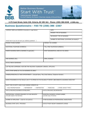 Business Questionnaire – FAX TO (250) 386 -2367 - BBB