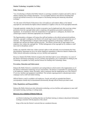 Student Acceptable Use Policy - Hudsonville Public Schools