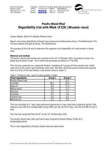 Digestibility trial with Mink (F229) (Mustela vison) - Kopenhagen Fur