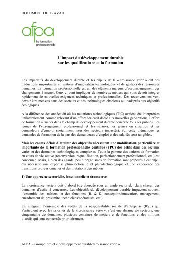 AFPA et croissance verte - COE