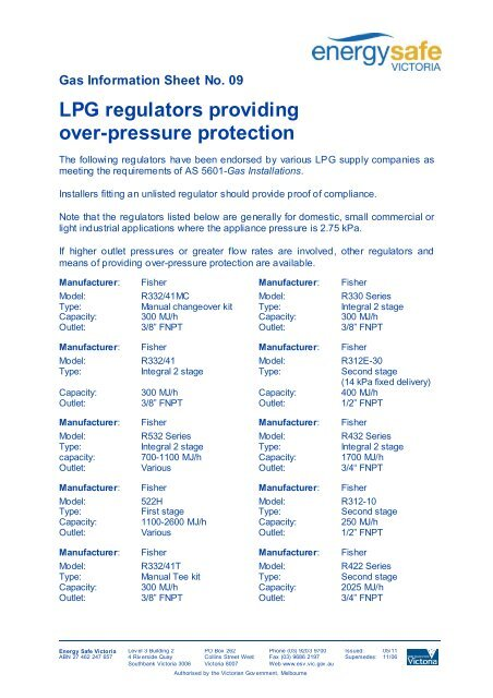 LPG regulators providing over-pressure protection - Energy