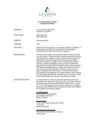 La Costa Resort and Spa General Fact Sheet ADDRESS: 2100 ...