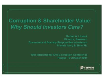 Why Should Investors Care? - International Anti-Corruption ...