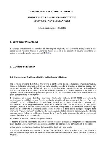 GRUPPO DI RICERCA DIDATTICA DI IRIS STORIE ... - storieinrete.org