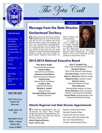 September 2012 - Zeta Phi Beta Sorority, Inc. - State Of New Jersey