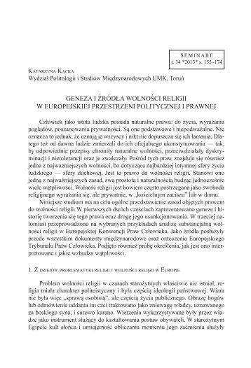 Geneza i źródła wolności religii w europejskiej przestrzeni ... - CEJSH