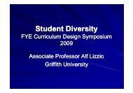 Student Diversity - FYE - Curriculum Design Symposium
