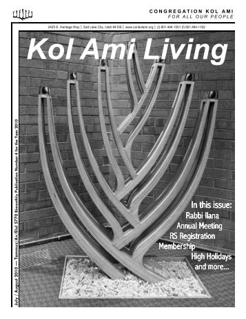 In this issue: In this issue: - Congregation Kol Ami