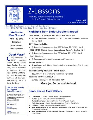 June 2012 - Zeta Phi Beta Sorority, Inc. - State Of New Jersey