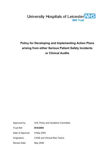 Action Plans-policy - Library - University Hospitals of Leicester NHS ...