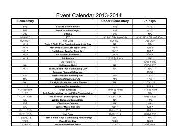 2013-2014 Events Calendar