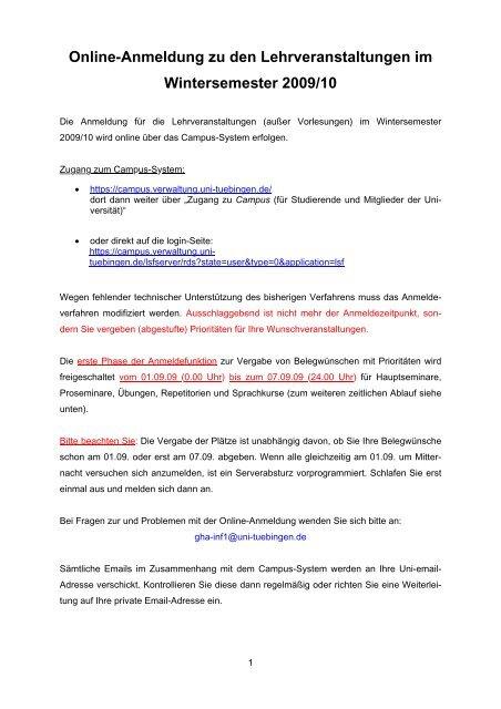 Online-Anmeldung zu den Lehrveranstaltungen im Wintersemester ...