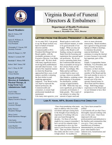 Winter 2013 Newsletter - Virginia Department of Health Professions