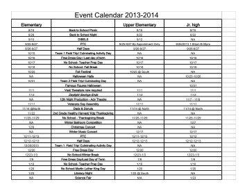 Event Calendar 2013-2014